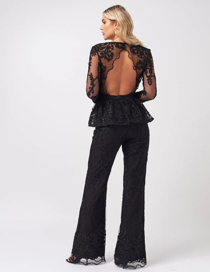 Black Lace Embroidered Tailored Trousers