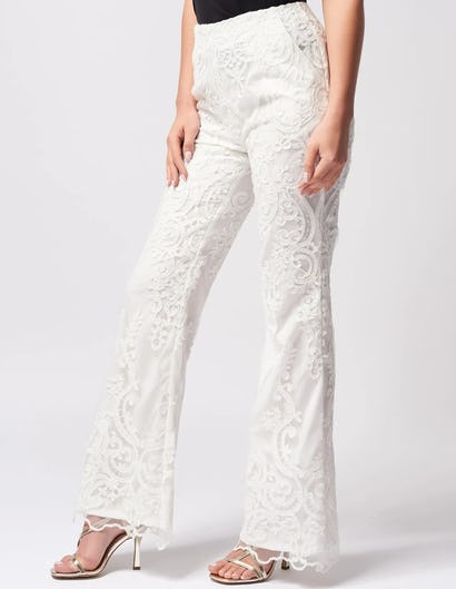 Ivory Lace Embroidered Tailored Trousers
