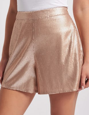 Nude Sequin Shorts with Tie Waist Belt