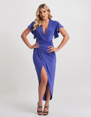 Blue Asymmetric Plunge Midi Dress
