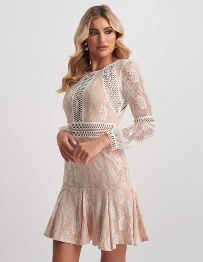Nude Embroidered Overlay Lace Mini Dress with Frill Skirt