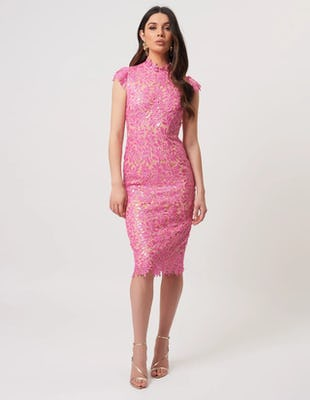 Fuchsia Sequin Floral Lace Embroider Midi Dress