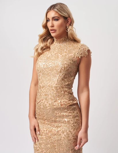 Gold Sequin Floral Lace Embroider Midi Dress