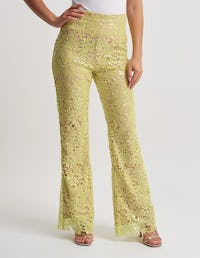Fuchsia Floral Lace Sequin Trousers