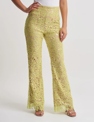 Lime Floral Lace Sequin Trousers