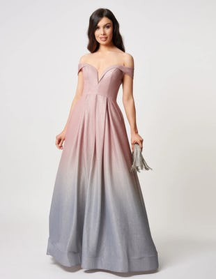 Pink and Silver Glitter Bardot Maxi Dress