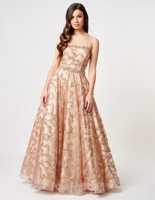 Rose Gold Strapless Beaded Maxi Dress