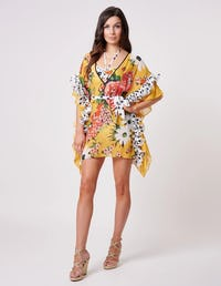 Yellow Spotted Floral Print Ruffle Kaftan with Tie Waist