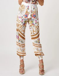 White and Gold Baroque Print Chiffon Trousers