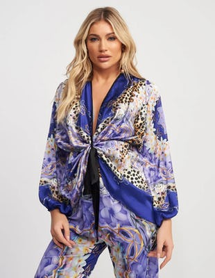 Purple Multi Print Beach Top with Plunging Neckline