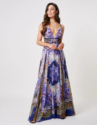 Purple Multi Print Plunging Beach Maxi Dress