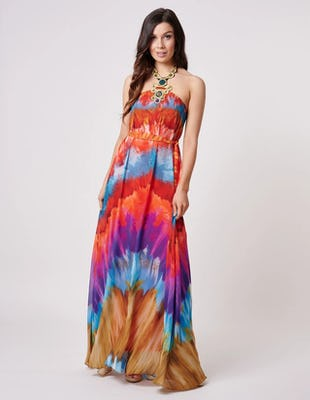 Multi Coloured Tie Die Halter Neck Beach Maxi Dress