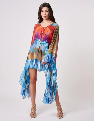 Multi Coloured Tie Die Kaftan with Tie Waist