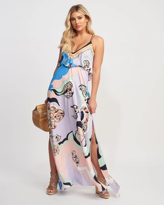 Pastel Swirl Print Beach Maxi Dress