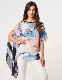 Pastel Swirl Print Top with Exaggerated Sleeve Detail