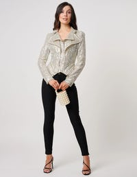 Silver Sequin Biker Jacket with Exaggerated Zip Detail
