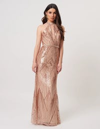Rose Gold High Neck Embellished Maxi Gown
