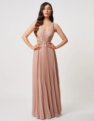 Nude Pleated Maxi Dress with Cross Tie Back Detailing