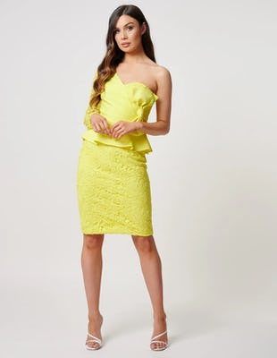 Yellow Lace One-Shoulder Peplum Mini Dress