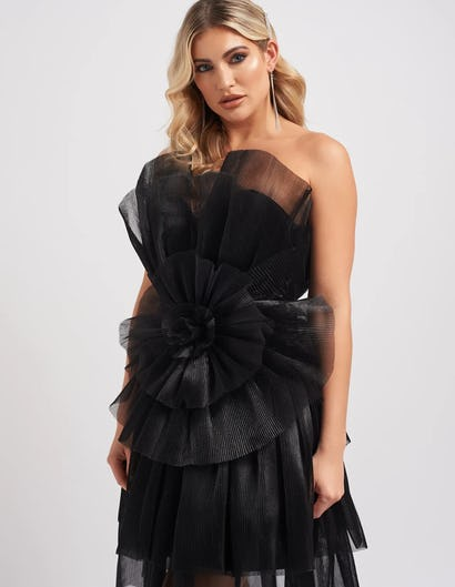 Black Statement Exaggerated Ruffle Mini Dress