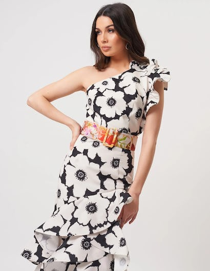 Ivory and Black Floral One Shoulder Ruffle Maxi Dress