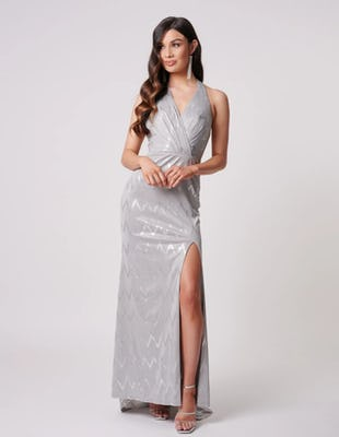 Silver Sparkly Maxi Gown with Metallic Zigzag Detailing