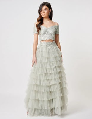 Green Beaded Crop Top and Tulle Tiered Skirt Co-Ord