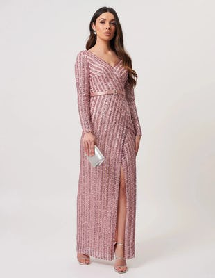 Nude Long Sleeve Striped Sequined Maxi Dress