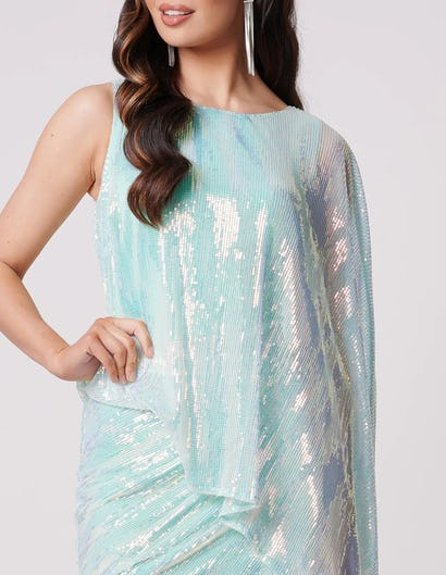 Turquoise Sequined Ruched Mini Dress with Batwing Design