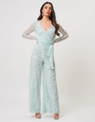 Mint Green Sequin Long Sleeve Wide Leg Jumpsuit