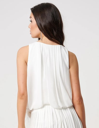 Ivory Sleeveless Top with Exaggerated Bow and Floral Detailing