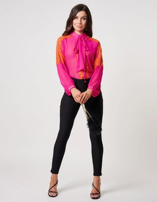 Fuchsia and Orange Bow Blouse
