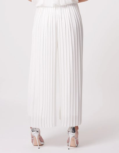 White Pleated Wide Leg Trousers