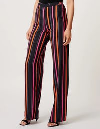 Black Striped Tailored Wide Leg Trousers