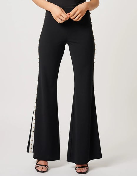 Black and White Tailored Trousers with Gold Studs