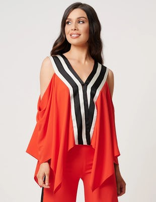 Coral and Black Cold-Shoulder Striped Collar Blouse