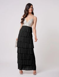 Black and Silver Ruffle Tiered Maxi Dress