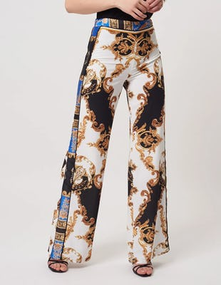 Baroque Wide Leg Trousers with Panelling