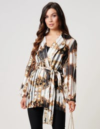 Baroque Print Suit Jacket with Waisted Belt