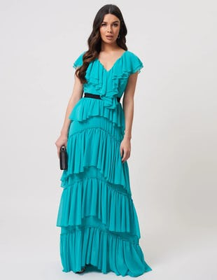 Turquoise Ruffled V-Neck Maxi Dress