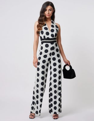 Black and White Polka Dot Halter Neck Wide Leg Jumpsuit