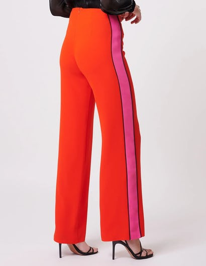 Coral Straight Leg Suit Trousers with Contrasting Stripe