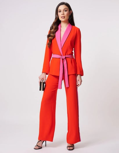 Coral and Fuchsia Suit Jacket with Tie Waist Belt
