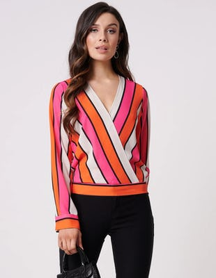 Coral and Fuchsia Striped V-Neck Blouse