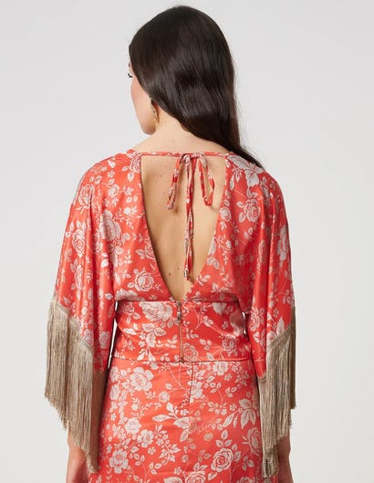 Coral Oriental Style Floral Wrap Top with Fringe Detailing