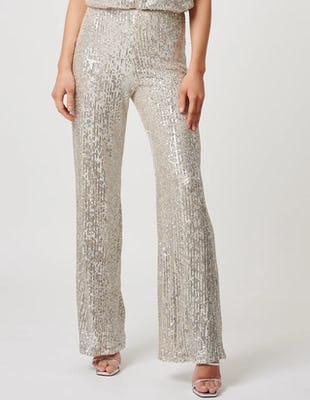 Silver Sequin Wide Leg Trousers