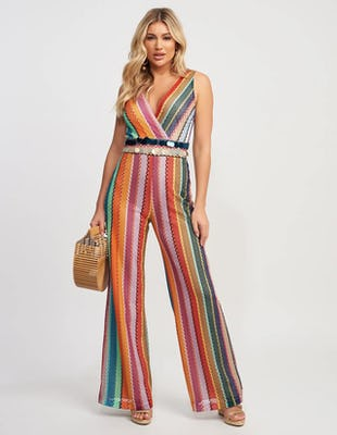 Multi Coloured V-Neck Crochet Jumpsuit with Disk Detailing