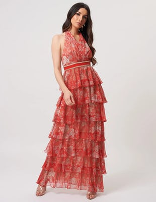 Coral Oriental Style Floral Maxi Dress with Tiered Skirt