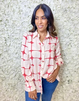 Red and Cream Square Print Blouse