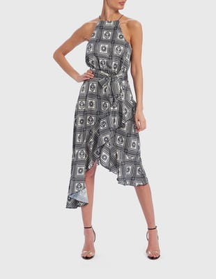 Grey Geometric Print Halter-Neck Asymmetric Midi Dress